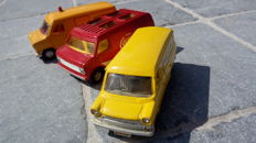 Dinky Toys/Corgi - Scale 1/43 - Ford Transit Van 'Motorway Services' No.416,  'Hertz Truck Rental' No.407 and Chevrolet Van 'Coca-Cola' No.437