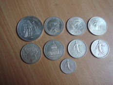 France – Lot of 9 coins 1914/1988 – Silver