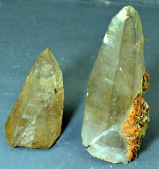 Terminated smoky Quartz Crystal points with siderite - 110 to 35 mm  - 314 gm ( 2 )