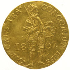 Kingdom of Holland - Ducat gold 1807 with a straight 7 Louis Napoleon - gold