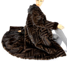 Rare mink fur coat from dark mink fur with a stripe pattern