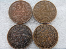 Netherlands– 2 ½ cents from 1913/1918 Wilhelmina 4 pieces – bronze