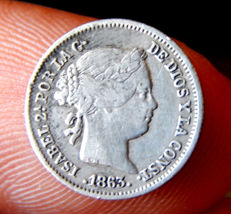 Spain - Isabel II - 1 silver real year 1863 Seville mint.