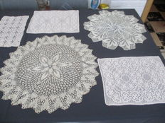 Land of five table doilies - including three crochet and two knit work