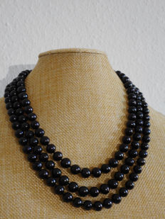 14K 3 strand pearl necklace-17-18-19 inch-cultured freshwater black pearls -  9-10mm