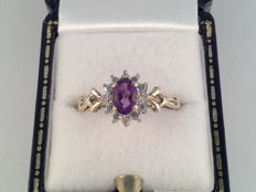 Yellow gold ring with natural amethyst and diamond 0.24 ct, ring size 17/53