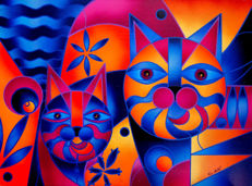 Kino Mistral - Double Cat .Orange & blue