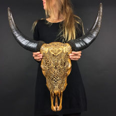 Water buffalo skull with engraving of a Barong - Ubud - Bali - Indonesia - 21st century