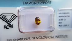 Natural Diamond - 0.65 ct - Oval cut -  Natural Fancy Intense Brownish Yellow - SI 1