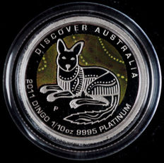 "Australia - 15 dollars 2011 ""Dingo"" with a coloured background - 1/10 oz platinum"