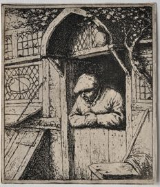 A Peasant leaning on his Doorway - Original etching by Adriaen van Ostade - Netherlands 1653  - Date of impression unknown