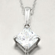 14K white gold pendant set with created moissanite approx. 1.3 ct  - 18 inches