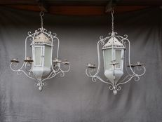 A set of gallant large format grey-coloured metal wind light lanterns - 20th century.