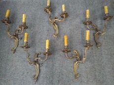 Set of 5 bronze wall sconces in Rococo style