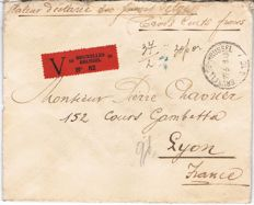 Belgium – 2 letters to Lyon head to tail stamps