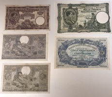 Belgium - Lot of 5 Belgian currency notes - 1924/1943