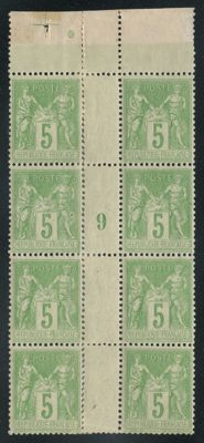 France 1898 - Sage block of 8 with date and marking cross - Yvert 106