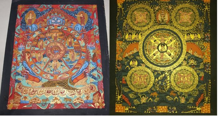 Two Hand painted Thangka paintings, Wheel of life and Buddha Mandala- Tibet/Nepal - late 20th century