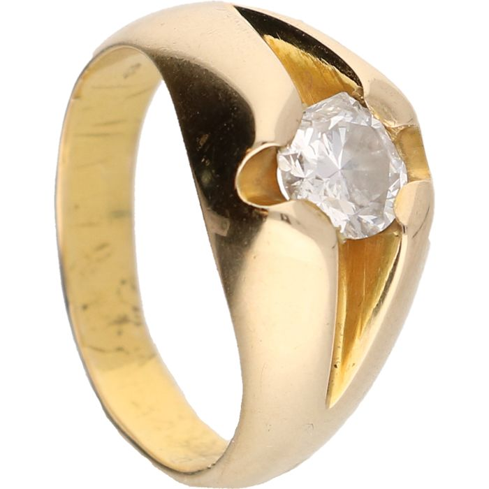 14 kt - Yellow gold ring set with one brilliant cut diamond of approx. 0.75 ct - Ring size: 18 mm