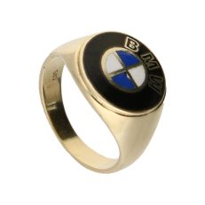 14 kt - Yellow gold signet ring set with black onyx and the BMW logo - Ring size: 19 mm