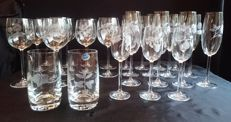 27 piece Bohemia crystal engraved wine glasses