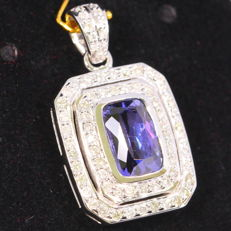 "4.49ct Tanzania ""D"" Block Violet Blue Tanzanite 14K White Gold 5.75grams Diamond Pendant (No Reserve)"