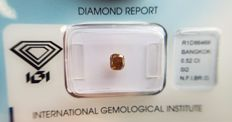 Natural Diamond - 0.52 ct - Cushion Modified Brilliant cut -  Natural Fancy Intense Brownish Orange - SI 2