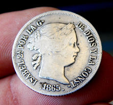 Spain - Isabel II - Philippines - 20 peso cents 1865 Manila - Silver - Scarce.