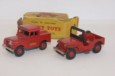 Dinky Toys - Scale 1/43 -  Mersey Tunnel Police Land Rover Van no.255 and Universal Jeep no.25Y