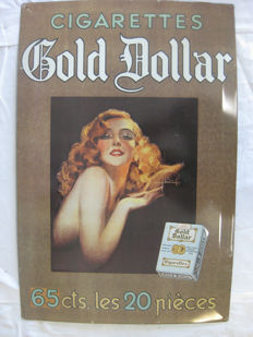 Metal sign from the old cigarette brand Gold Dollar from before 1950.