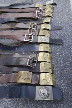Lot 22 x Military leather straps and buckles
