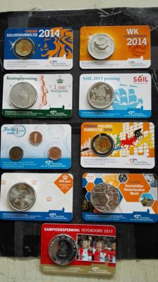 Netherlands - Medals in coin cards 2014/2017 (9 pieces)