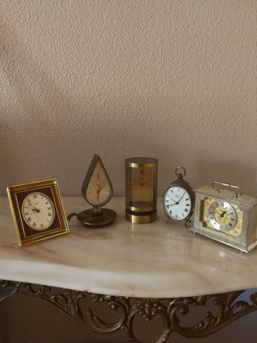 Collection of five Swiza mantel clocks