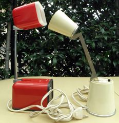 Made in the '60s-'70s – Lot of (2) reading / table lamps – 1) Lampette Germany EE + 2) Kreo-Lite Hiscope, Model NA-719 Japan