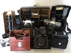 Lot of 7 lenses/9 analogue cameras/camera bags and accessories