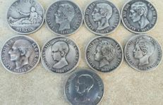 "Spain - XIX century - lot of 9 ""hards"" of 5 pesetas - silver - visible stars."