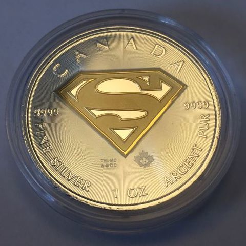 Canada - 5 Dollars 2016 'Superman' gilded version - 1 oz silver