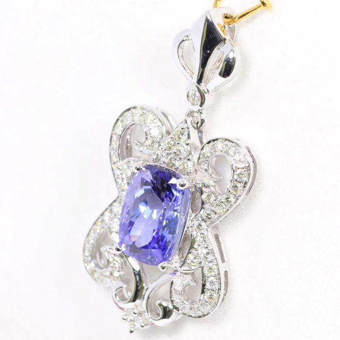 "3.67ct Tanzania D"" Block Violet Blue Tanzanite 18K White Gold 5.69grams Diamond Pendant (No Reserve)"