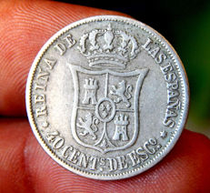 Spain - Isabel II - 40 escudo cents 1866 Madrid mint - silver.