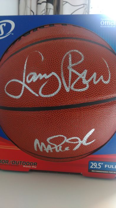 Original dual signed Larry Bard & Magic Johnson basketball (Steiner authenticated)