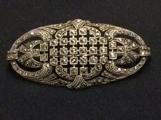935 Silver handmade Art Deco brooch with marcasites, Germany, around 1920