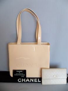 Lot of 2: Chanel - Tote hand bag and + Chanel - Camellia bi-fold clutch - **No Reserve Price**