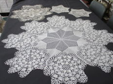 Center Table - Four knit art work table cloths, completely hand made.