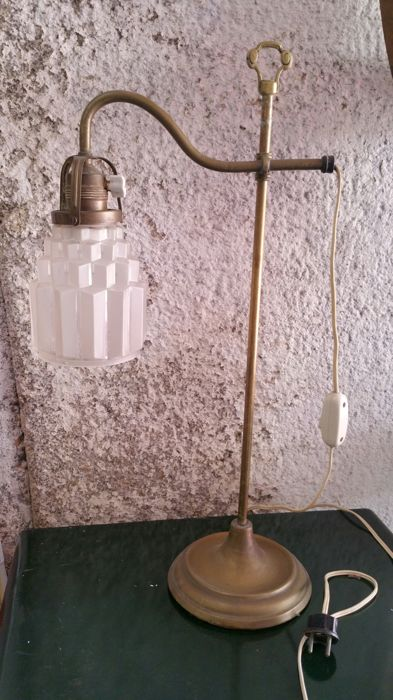 Original Art Deco lamp with a gorgeous glass lampshade in ladder, circa 1920