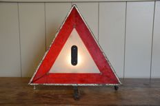 Vintage illuminated warning triangle - meets the new highway code - Circa 1950