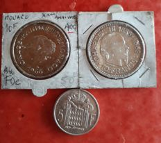 Monaco – 5 & 10 Francs 1966 (lot of 3 cons) – Silver