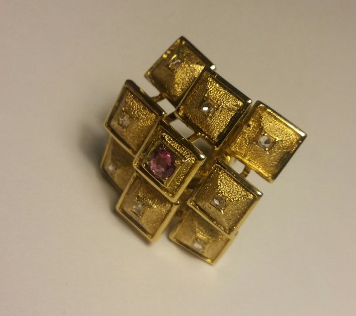Ilias Lalaounis - 18k ring with 8 diamonds & a tourmaline - size 46 (adjustable)