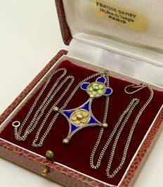 "Antique indigo blue moss green & okra yellow enamel ""cross of the south"" necklace solid silver - NO reserve"
