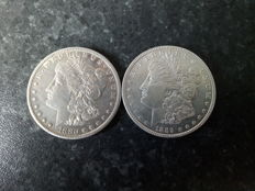 USA - 1 dollar 1880s and 1889 - 2 coins - silver