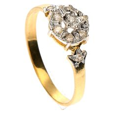 14 kt, yellow gold, rosette ring with a diamond of 0.08 ct, ring size: 16.5